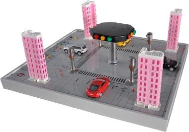 十字路口交通灯实物教学实验装置